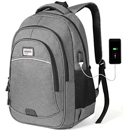 KUSOOFA Herren Rucksack, Business Laptop Rucksack, Studenten Wasserdicht Notebook Backpack, Schulrucksack mit USB-Ladeanschluss, Vielen Taschen und Fächern (BR4-Grau)