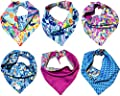 B&F 3 Pack Reversible Dog Bandana 3 Pieces - 6 Looks, Machine Washable Handmade pet Accessories. Scarves for Small, Medium,and Large Dogs. Mod. Botanical