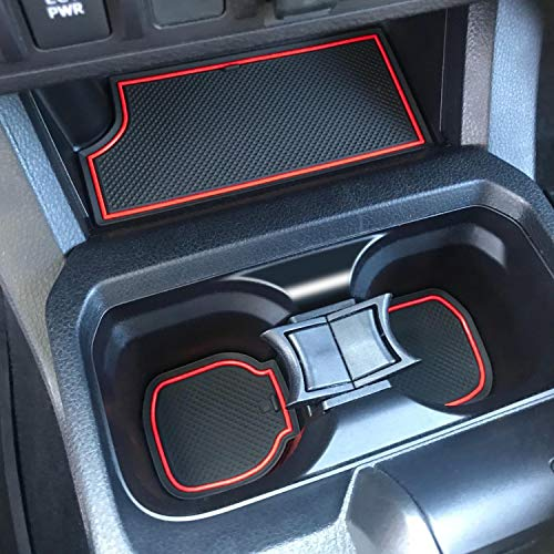 SENSHINE for Toyota Tacoma Accessories 2016-2021 Custom Liner Cup Holder, Console, and Door Pocket Inserts (Double Cab) (Red Trim)