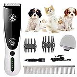 GNHOME Hundeschermaschine Schermaschine Hund Katze, Tierhaarschneidemaschine Leise Profi Schnurlosen Tierhaarschneider,Wiederaufladbare Elektrische Haarschneidemaschine