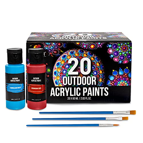 Outdoor Acrylic Paint, Set of 20 Tubes (2 fl oz), Glow in the Dark Effect, Rich Pigments, High-Viscosity, Waterproof, Indoor/Outdoor, Multiple Surfaces Paints Canvas Wood Craft Fabric Leither Rock