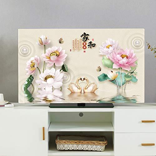 catch-L Interior Cubierta de TV LCD Protector Solar a Prueba de Polvo Paño de Cubierta Todo Incluido (Color : Swan Jade Lotus, Size : 50-52inch)