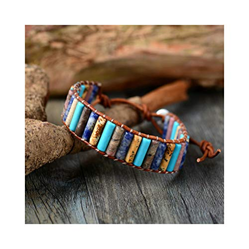CNSP VIVIZEY Unique Boho Tube Shape Natural Stones Single Leather Wrap Bracelets Handmade Bohemian Weaving Bracelet Leather Jewelry Funky