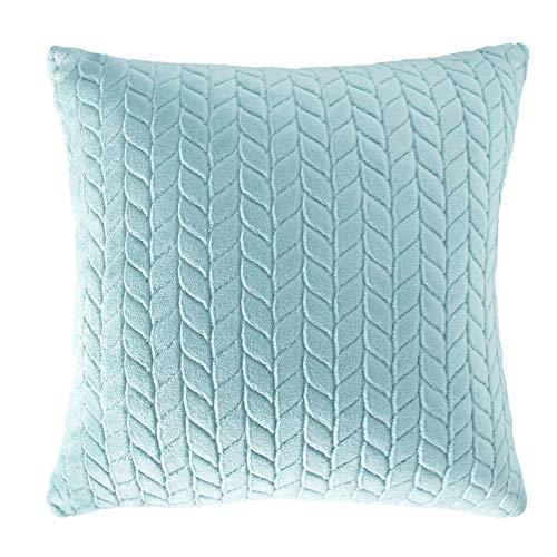 V & A - Juego de 2 fundas de almohada premium – suave terciopelo en el tamaño habitual 45 x 45 cm – con cremallera oculta – en color turquesa, terciopelo.