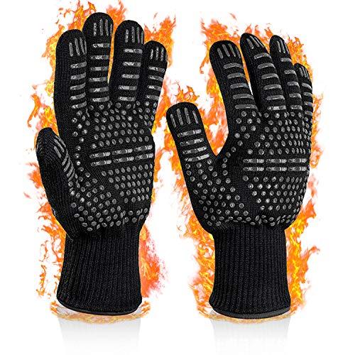 SNUNGPHIR Guanti de Barbecue, Guanti da Forno con Resistenza al Calore Fino a 800 °C /1472 ° F, Heat Resistant Gloves Antiscivolo in Silicone per Grigliare, Cottura al Forno, Cuocere, Camino (1 Paio)
