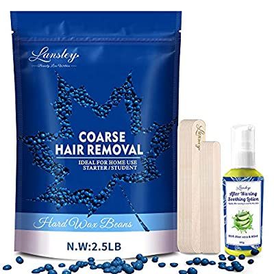 Wax Beads LANSLEY Hair Removal Wax Kit for Women Men for Face Painless A Pearl Hard Wax Beans 2.5lb/1.1kg with 10 Wax Applicator and Soothing Lotion No Needed Strips by ILansley