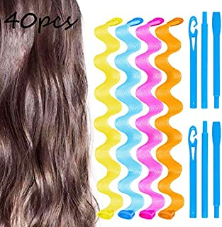 40 Pcs 21 Inch Wave Curl Formers, Smilco Heatless Hair Curler for Medium to Long Hair, Hair Style Tools Set with Styling Hooks, Diy Magic Spiral Ringlets Rollers for Women and Girls