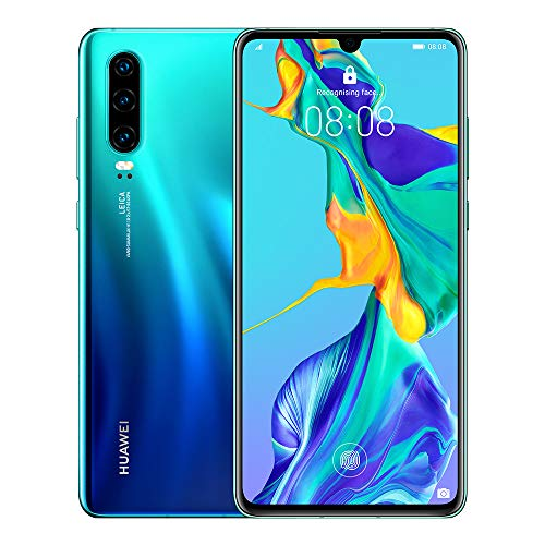 Huawei P30 128 GB 6.1 Inch OLED Display Smartphone with Leica Triple Camera, 6GB RAM, EMUI 9.1.0 Sim-Free Android Mobile Phone, Single SIM, Aurora, UK Version