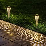 Luces solares para exteriores alimentadas con luces solares para jardín, luz blanca cálida, IP65, impermeable, para exteriores, para terraza, patio, valla, jardín,porche, césped uso (2 unidades)