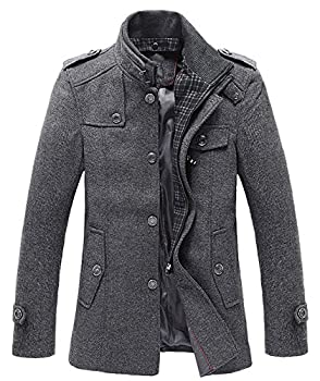 Chouyatou Men's Winter Stylish Wool Blend Single Breasted Military Peacoat
