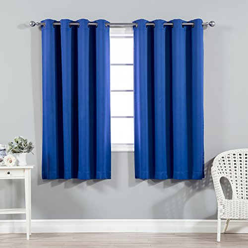 Best Home Fashion Thermal Insulated Blackout Curtains - Antique Bronze Grommet Top - Royal Blue - 52