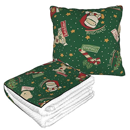 N\ A Personalized Throw Blanket and Pillow Convertible Funny Christmas Santa Reindeer Snowman Olive Zipper Travel Airplane Car Flight Blanket Soft Throw Pillows Compact Portable for Women Kids
