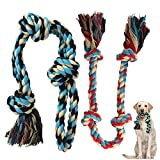 Zutesu Dog Rope Toy, 2 Pack Interactive Dog Chew Toys for Medium to Large Breed Dogs, Almost Indestructible Puppy Teething Chew Tug of War Toy for Training