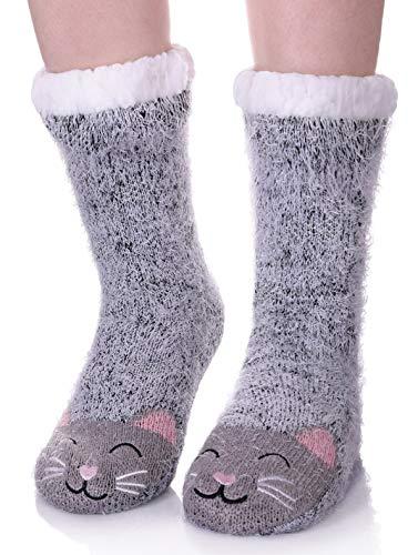 LANLEO Womens Cute Cartoon Animal Fuzzy Slipper Socks Winter Soft Warm Fleece Lining Knit Home Socks With Grippers (Cat)