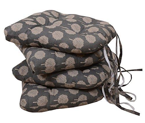 east2eden Dark Mulberry Design Kitchen Garden Dining Chair Tie On Soft Seat Pad Cushion (Set of 4)
