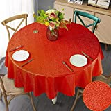 XQSSB Mantel de Mesa con Efecto Loto Lavable Anti Escaldaduras Impermeable Resistente a La Suciedad Resistente Rojo de 340cm de Diámetro Redondo