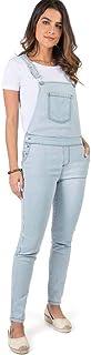 Jardineira Jeans Listrada Branco/Azul Claro