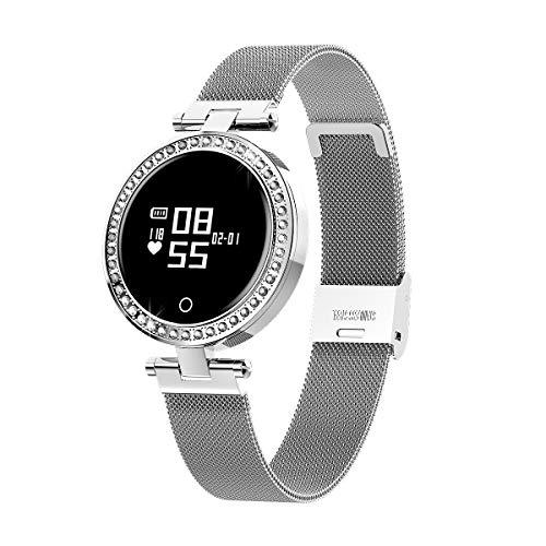 Paghy, orologio intelligente rotondo touch screen, IP68 impermeabile Smartwatch per le donne, fitness tracker con frequenza cardiaca e contapassi, braccialetto argento