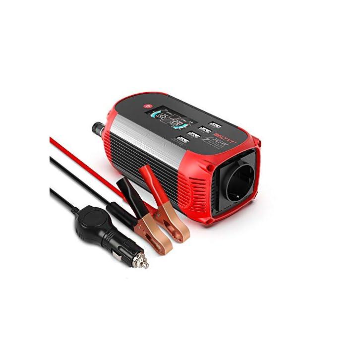 BELTTT convertisseur de Tension 300W / 12 V à 230 V avec 4 Ports USB/avec Affichage numérique et Prise Allume-Cigare…