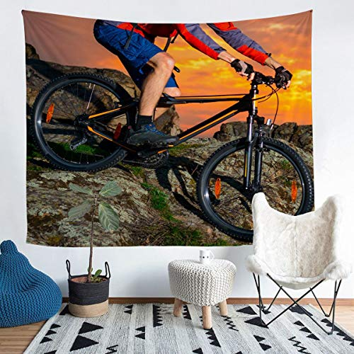 Bicycle Rider Wall Hanging Mountain Bike Tapestry Extreme Sports Theme Wall Blanket for Children Kids Boys Girls Microfiber Cool Style Wall Art Room Decor XLarge 69x91