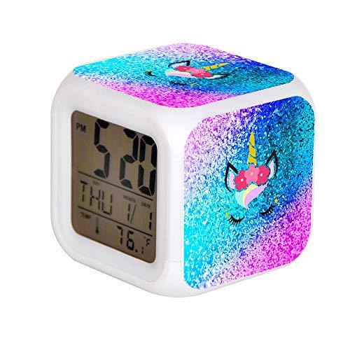 ALPERT Child 7 Color Change LED Digital Alarm Clock with Date Alarm Thermometer Desktop Table Cube Alarm Clock Night Glowing Flash Watch Toys Unicorn Glitter