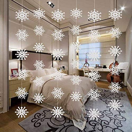 US Warehouse - Pendant & Drop Ornaments - Christmas Tree Decorations Hanging Pendant Ornaments New Year Party Decoration 3D Snowflake Star Strip Flag Garlands - (Color: White)