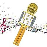 Horolas Microfono Karaoke, Wireless Bluetooth USB LED Bluetooth Altoparlante Microfono Wireless Bambini Karaoke per KTV di Casa/Festa/Canto, Compatibile con Android/iOS o Smartphone (Giallo)