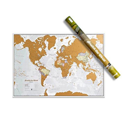 Mapa Mundi de Rascar - ¡Rasca los lugares a los que viajes! - detalles cartográficos -84,1cm (ancho) x 59,4(alto) cm