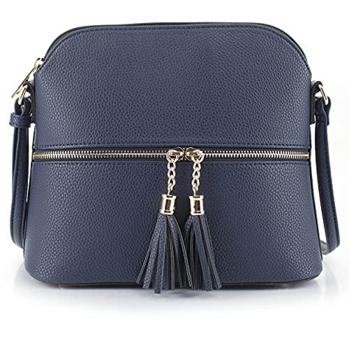 SG SUGU Lunar Lightweight Medium Dome Crossbody Bag Shoulder Bag with Double Tassels | Zipper Pocket | Adjustable Strap|Navy