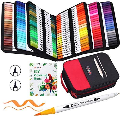 ZSCM イラストペン 132色 水性ペン 水彩ペン アートマーカーペン セット ふで・極細 水彩毛筆 鮮やか イラスト 手帳 絵手紙 色塗り 大人の塗り絵 カード 学校用 子供用 収納ケース付き