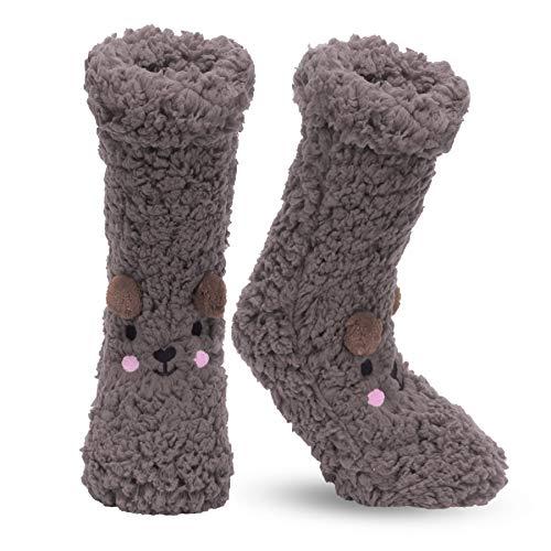 Calcetines de invierno para mujer, antideslizantes, suaves, acogedores, con forro polar, mullidos y peludos, de punto, cálidos, para hombres y mujeres