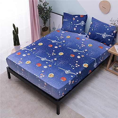 Acogedor 2020 Hoja Ajustada Hoja de Cama Suave con Banda elástica Impreso para Ropa de Cama Cubierta de colchón de colchón Cama para Hotel en casa (Color : M09, Size : 160X200X25cm)