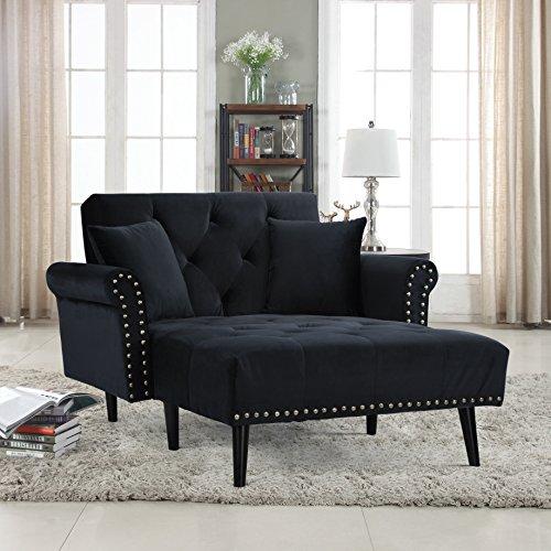 Casa Andrea Milano Modern Velvet Fabric Sleeper Chaise Lounge - Futon Sleeper Single Seater with Nailhead Trim & Reclining Backrest (Black)
