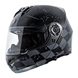 TORC Unisex Adult T27 Full Face Modular Motorcycle Helmet with Graphic and Flip-Down Sun-Shield, Large (Flat Black Checker
