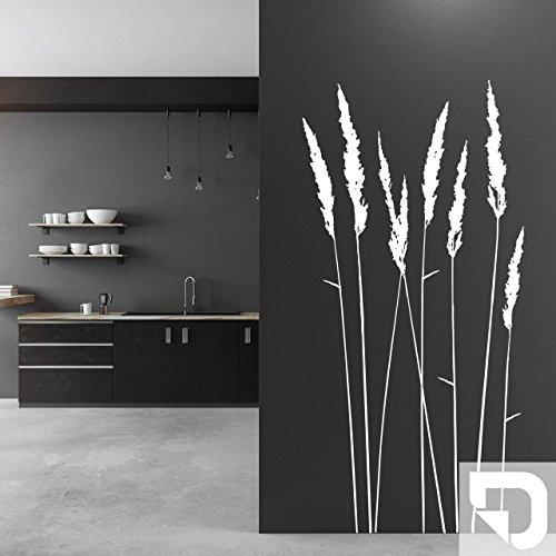 DESIGNSCAPE® Wandtattoo Filigrane Gräser   Elegante Grashalme als Wanddeko 29 x 60 cm (Breite x Höhe) weiss DW804183-S-F5