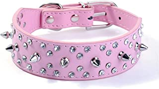 haoyueer Spiked Studded Dog Collar Stylish Leather Dog Collar, with Bullet Rivets and Rhinestones, Soft and Adjustable for Medium and Large Dogs
