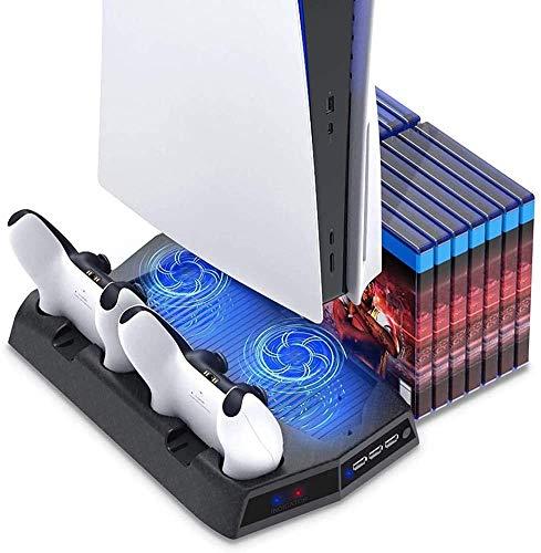 Fxwj PS5 Standfuß mit lüfter,PS5 Vertical Stand Kühlung Lüfter für Playstation 5 mit Controller Ladesation, für PS5 und 14 Spiele Lagerung