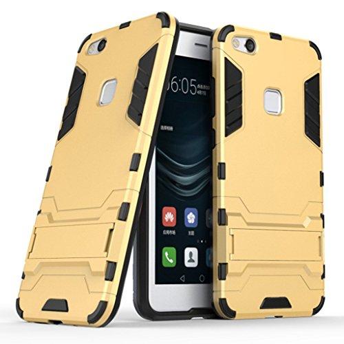 MaiJin Huawei社Huawei社P10ライト(5.2インチ)保護カバー2-IN-1 二重ハイブリッドブラケット機能衝撃ケース(金)
