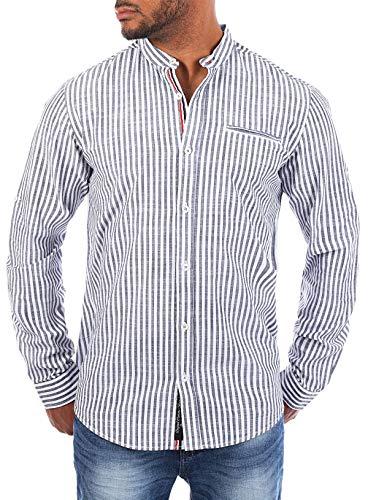 CARISMA Herren Baumwoll Leinen Mix Stehkragen Hemd gestreift Langarm körperbetont Slim Fit leicht tailliert, Grösse:M, Farbe:Grau