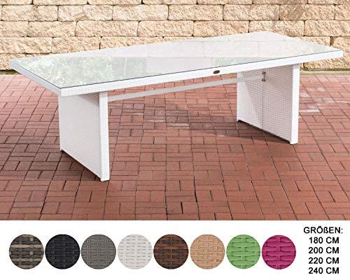 CLP Table De Jardin Avignon en Rotin Synthétique I Table A Manger dans Différents Formats Blanc, 220 cm