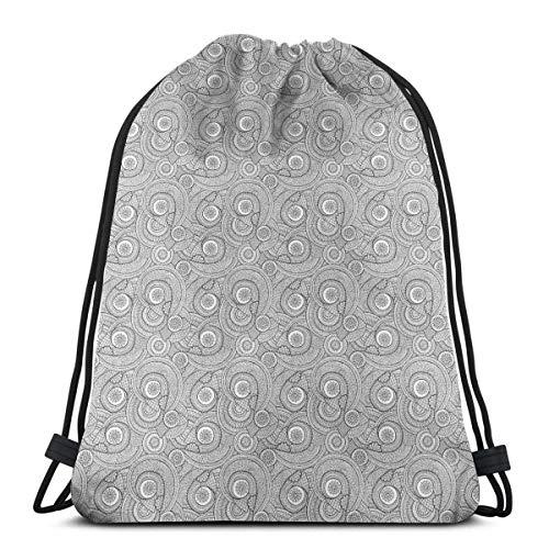 Lfff Rucksäcke Taschen, asiatisches ethnisches Blumenmuster mit Strudeln und von Mandala inspirierten Henna-Motiven, Verstellbarer Schnurverschluss