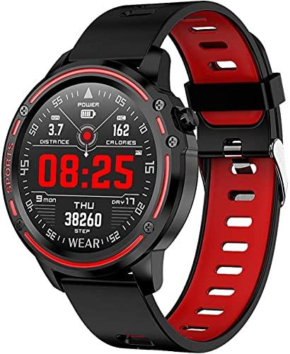 Reloj Inteligente Actividad Tracker IP68 Impermeable Fitness Tracker Pantalla Táctil con Cámara Reproductor de Música Monitor de Sueño Bluetooth Deportes Reloj-rojo