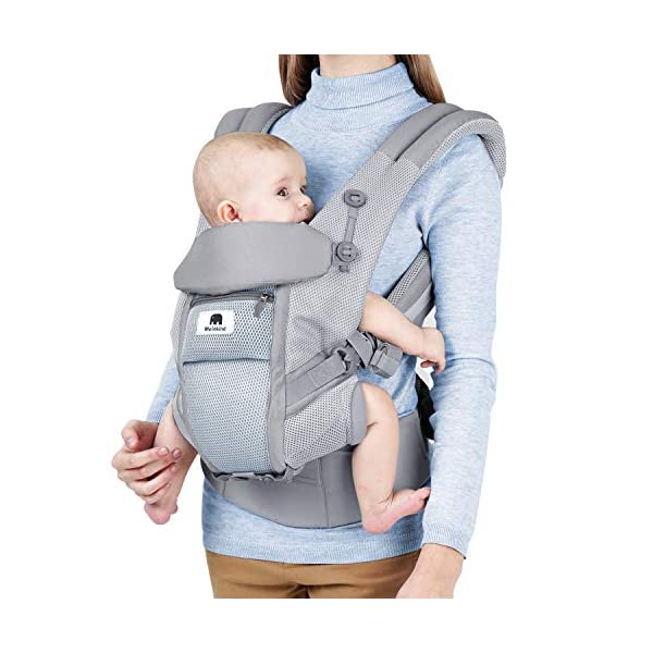 Meinkind Baby Carrier, 4-in-1 Convertible Carrier Ergonomic, Soft Breathable Mesh Comfortable Baby Carrier for 7~45lbs Infant, Front and Back Carrier with Head Support, Padded Shoulder Strap, Grey
