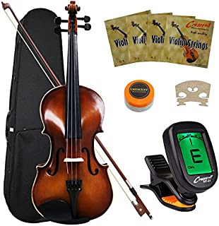 Crescent VL-NR-AW 4/4 Student Violin Starter Kit, Antique Wood Style (Includes CrescentTM..