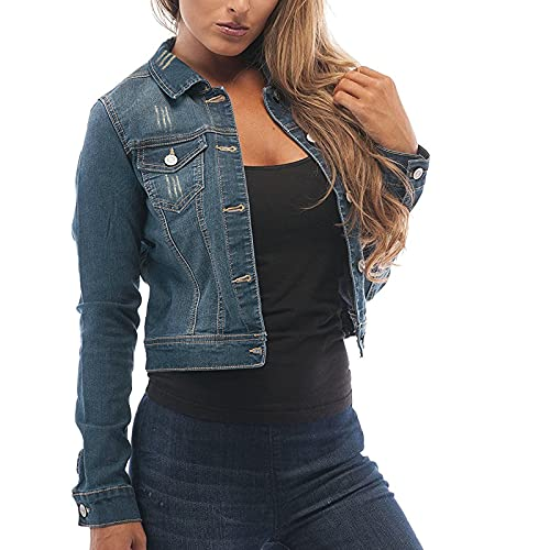 YTZL Sommerjacken Für Frauen Jeans Damen Jacket Jeansjacke Female Jeansjacke Lange ärmel Kurze Girl Jeansjacke Taschen Slim Jacket Jacken Damen DüNne Blazer Damen Blau Jacken Blazer Damen Schwarz