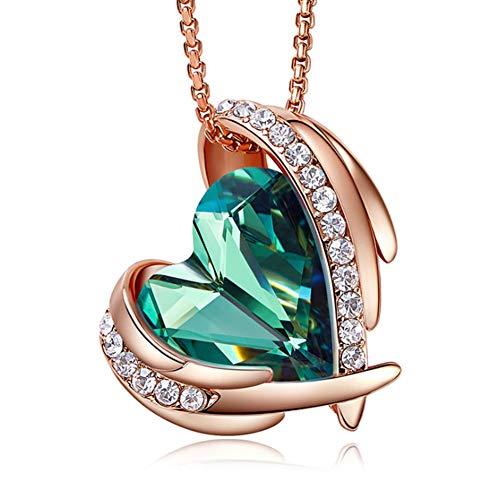 XINGYU Damen 925 Sterling Silber Halskette Kristall Zirkonia Anhänger Herzkette mit Swarovski Steinen Valentinstag Schmuck Geschenk, Green