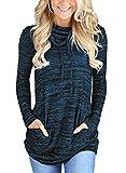 GOSOPIN Damen Sweatshirt Gestreift Rollkragen Pullover Loose Tops Langarm S-XXL (Small (EU36-EU38), 5)