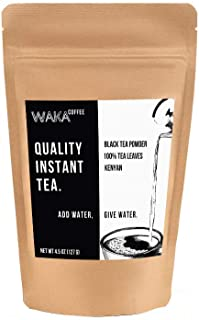 Waka Quality Instant Tea — Unsweetened Kenyan Black Tea Powder — 100% Tea Leaves — 225 Servings in a 4.5 oz Bag for Hot or...