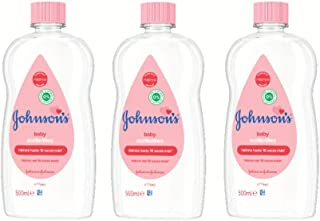 Johnson's Baby Aceite Regular, Deja la Piel Suave y Sana, Ideal para Pieles Delicadas - 3 x 500 ml