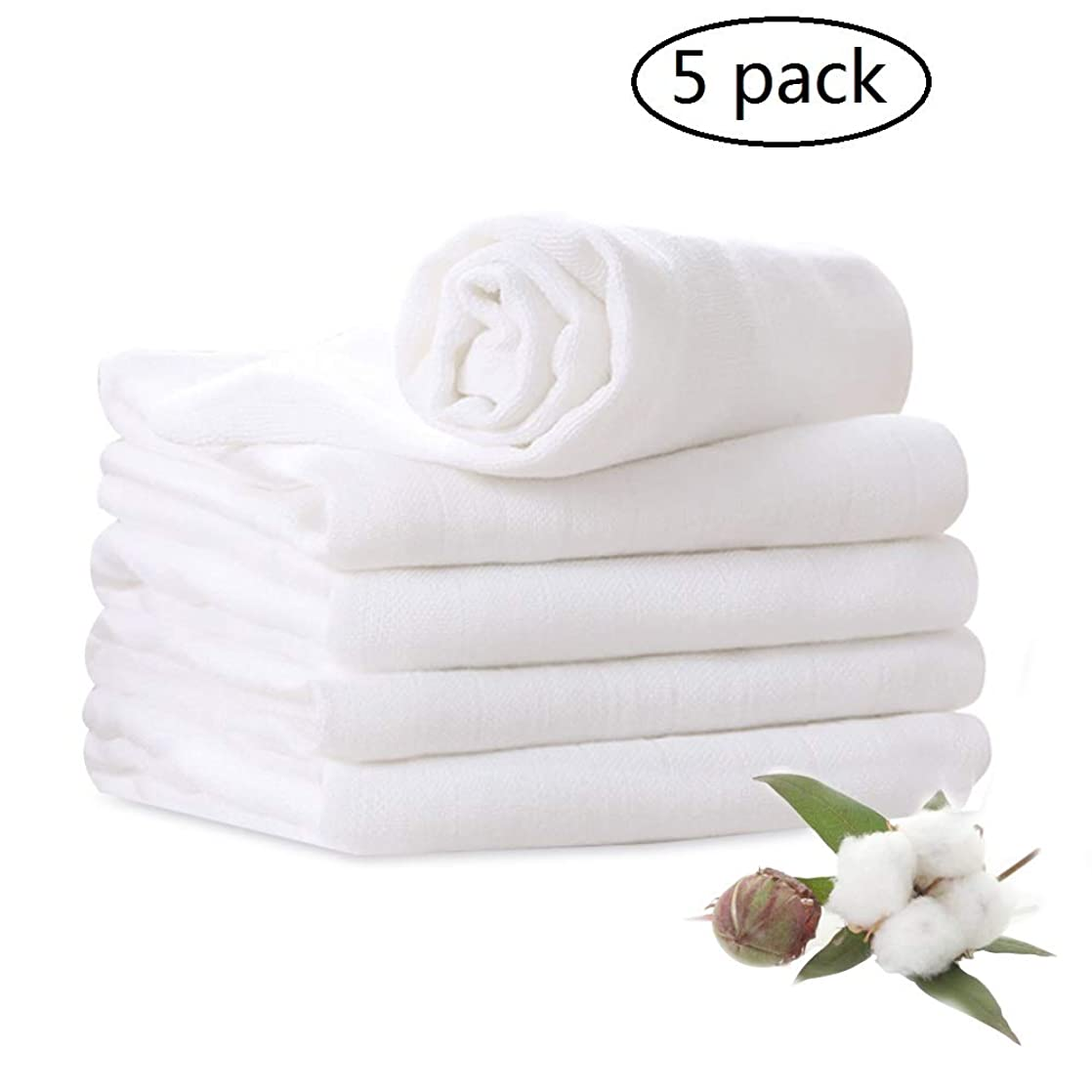 Muslin Burp Cloths 100% Cotton 6 Layers Extra Absorbent 5 Pack Large 14